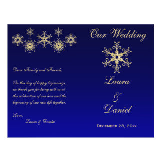 Blue, Gold Glitter Snowflakes Wedding Program Full Color Flyer