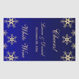 Blue, Gold Glitter Snowflakes Wine Label Sticker