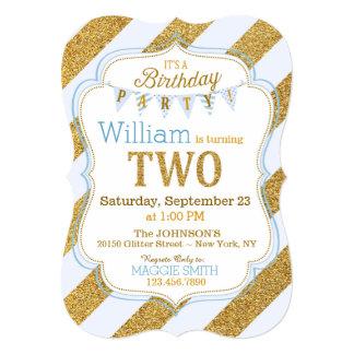 Blue Gold Glitter Sparkle Second Birthday Invite