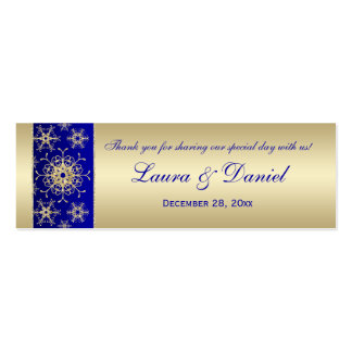 Blue Gold Glittery Snowflakes Wedding Favor Tag 2 Business Cards