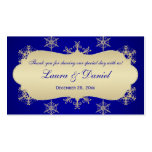 Blue, Gold Glittery Snowflakes Wedding Favor Tag Business Cards