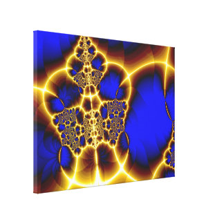 Blue & Gold Glowing Lace Canvas Print