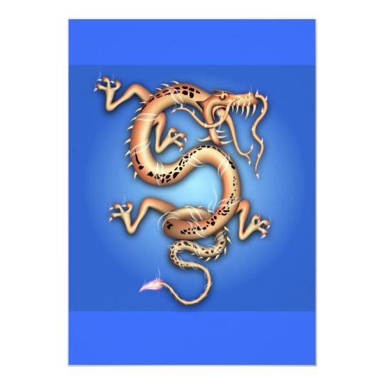BLUE GOLD GOLDEN DRAGON FANTASY CHARACTER CREATURE CARD