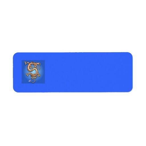 BLUE GOLD GOLDEN DRAGON FANTASY CHARACTER CREATURE RETURN ADDRESS LABEL