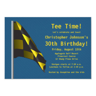 Blue Gold Golf Flag 30th Birthday Party Invitation