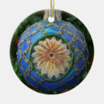Blue Gold Green Reflector Bulb Double-Sided Ceramic Round Christmas Ornament