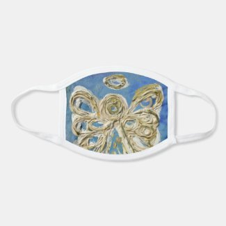 Blue Gold Guardian Angel Art Custom Face Mask