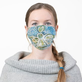 Blue Gold Guardian Angel Art Custom Face Masks