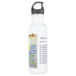 Blue Gold Heart What Cancer Cannot Do Stainless Steel Water Bottle