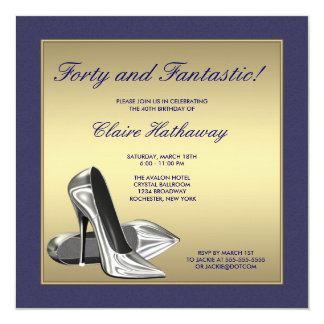 Blue Gold High Heels Womans 40th Birthday Party Personalized Announcement