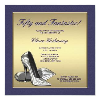 Blue Gold High Heels Womans 50th Birthday Custom Invitations