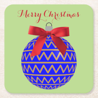Blue Gold Holiday Christmas Tree Bulb Red Bow Square Paper Coaster