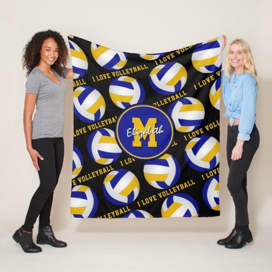 blue gold I love volleyball text girls sports room Fleece Blanket