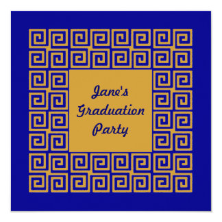 Blue & Gold Key Pattern GradParty Invitation