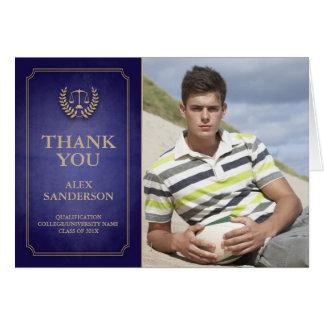 Blue/Gold Legal/Law School Graduation Thank You Card