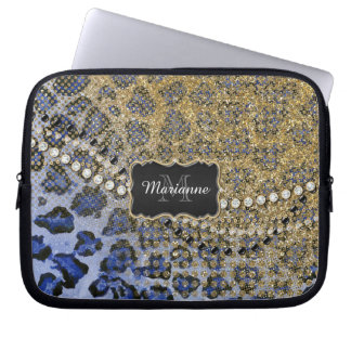 Blue Gold Leopard Animal Print Glitter Look Jewel Computer Sleeves