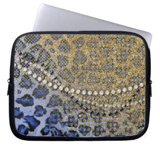 Blue Gold Leopard Animal Print Glitter Look Jewel Laptop Sleeves