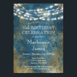 """Blue Gold Lights Birthday Party Invitation Adult<br><div class=""""desc"""">A richly colored blue birthday party invitation featuring a gold metallic distressed background with festive hanging lights. Perfect for milestone birthdays such as 18th 20th 21st 30th 35th 40th 45th 50th 55th 60th 65th 70th 75th 80th 85th 90th 95th and 100 ... or any age!</div>"""