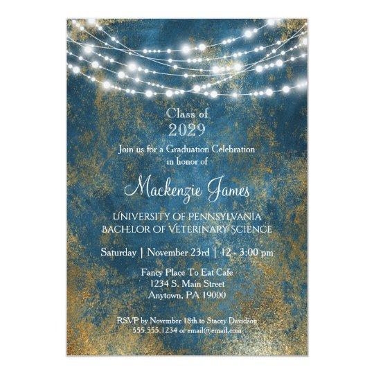 blue gold lights graduation party invitation