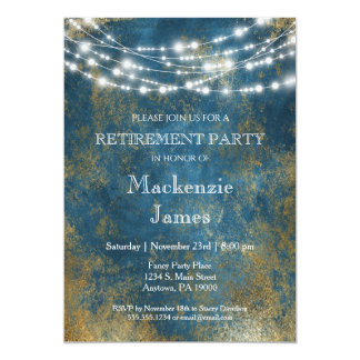 Blue Gold Lights Retirement Party Invitation