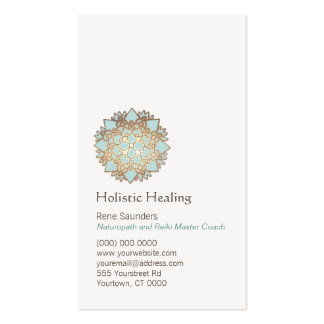 Blue Gold Lotus Holistic and Natural Health Double-Sided Standard Business Cards (Pack Of 100)