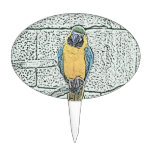 blue gold macaw on perch watercolor cake pick