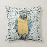blue gold macaw on perch watercolor pillows