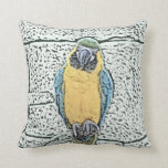 blue gold macaw on perch watercolor throw pillows