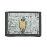 blue gold macaw on perch watercolor tri-fold wallet