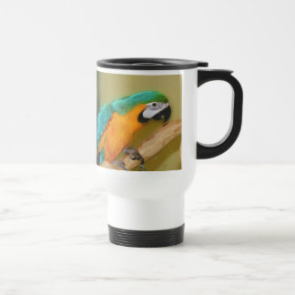 Blue Gold Macaw Parrot Painting Travel Mug