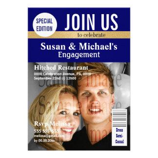 Blue Gold magazine engagement Personalized Invite