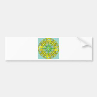 Blue Gold Mandala Bumper Sticker