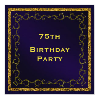Blue & Gold Man's Double Sided 75th Birthday Card