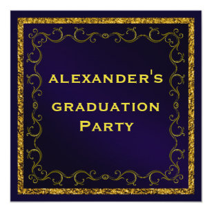 Double graduation invitations zazzle blue gold mans double sided graduation party invitation filmwisefo