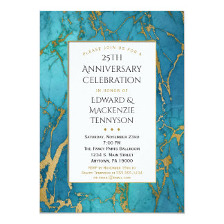 Blue Gold Marble Anniversary Party Invitation