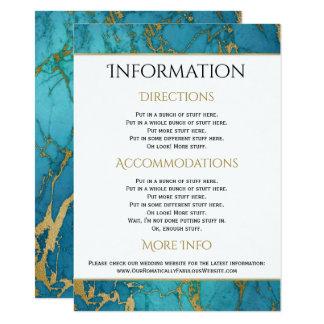 Blue Gold Marble Wedding Information Details Card