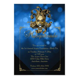 Blue Gold Masquerade Mardi Gras Ball Invitation