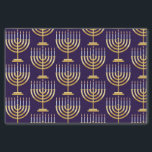 "Blue gold menorah tissue paper<br><div class=""desc"">Pattern of Jewish menorah with candles on blue background gift wrapping paper.</div>"