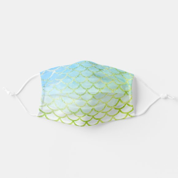 Light Blue Gold Mermaid fish scale Pattern Face Mask