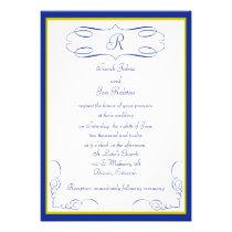 Blue Gold Monogram Wedding Invitation
