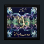 "Blue Gold Monogram Zodiac Sign Capricorn Gift Box<br><div class=""desc"">Blue and Gold Monogram Zodiac Sign Capricorn Gift Box, Jewelry Box or Keepsake Holder. A great astrological gift for your favorite Libra. These lovely boxes print beautifully and can be used for so many thing. They make a terrific gift, sure to please. Fill in the initial you desire to personalize...</div>"
