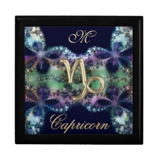 Blue Gold Monogram Zodiac Sign Capricorn Gift Box
