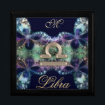 "Blue Gold Monogram Zodiac Sign Libra Gift Box<br><div class=""desc"">Blue and Gold Monogram Zodiac Sign Libra Gift Box. A great astrological gift for your favorite Libra. These lovely boxes print beautifully and can be used for so many thing. They make a terrific gift, sure to please. Fill in the initial you desire to personalize and customize if you like....</div>"