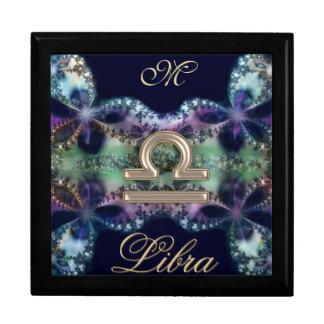 Blue Gold Monogram Zodiac Sign Libra Gift Box