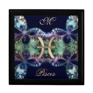 Blue Gold Monogram Zodiac Sign Pisces Gift Box