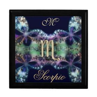 Blue Gold Monogram Zodiac Sign Scorpio Gift Box