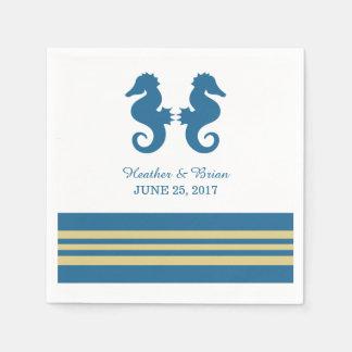 Blue Gold Nautical Seahorse Paper Napkins Standard Cocktail Napkin