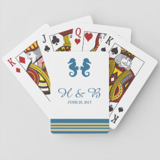 Blue Gold Nautical Seahorse Playing Cards