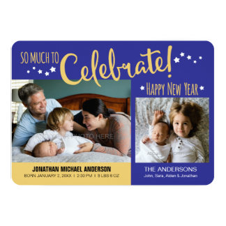 Blue & Gold New Years Photo Baby Boy Announcement