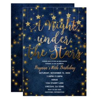 Blue & Gold Night Under the Stars Celestial Sky Card